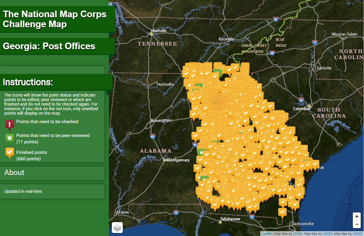 Georgia Post Offices Interactive Challenge Map