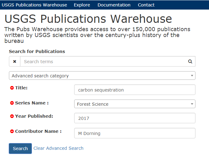 A screenshot of The USGS Publications Warehouse advanced search interface