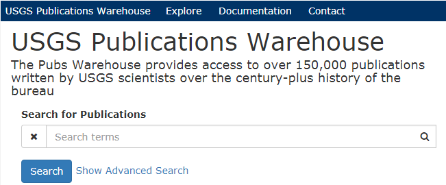 A screenshot of the Publications Warehouse basic search interface