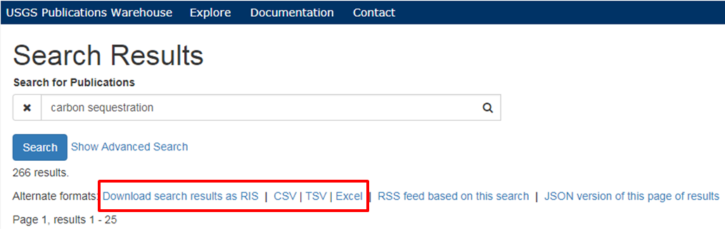 A screenshot of an example search results showing the RIS and tabular download options