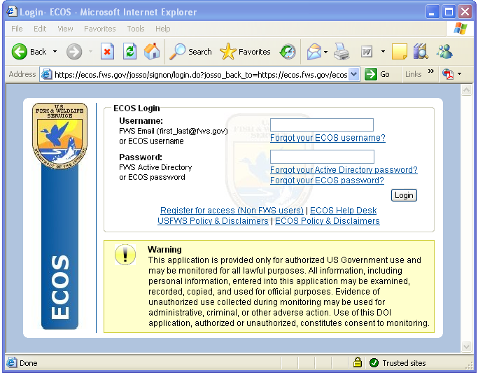 Threatened and endangered species system tess fws ecos figure 1 logging into ecos sciox Gallery
