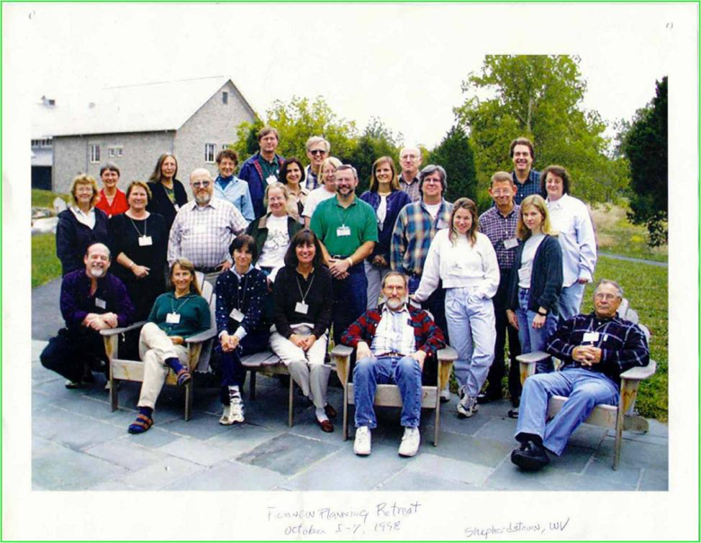 Group photo, not all participants identified, of the 1998 FICMNEW retreat at NCTC, Shepherdstown, WV